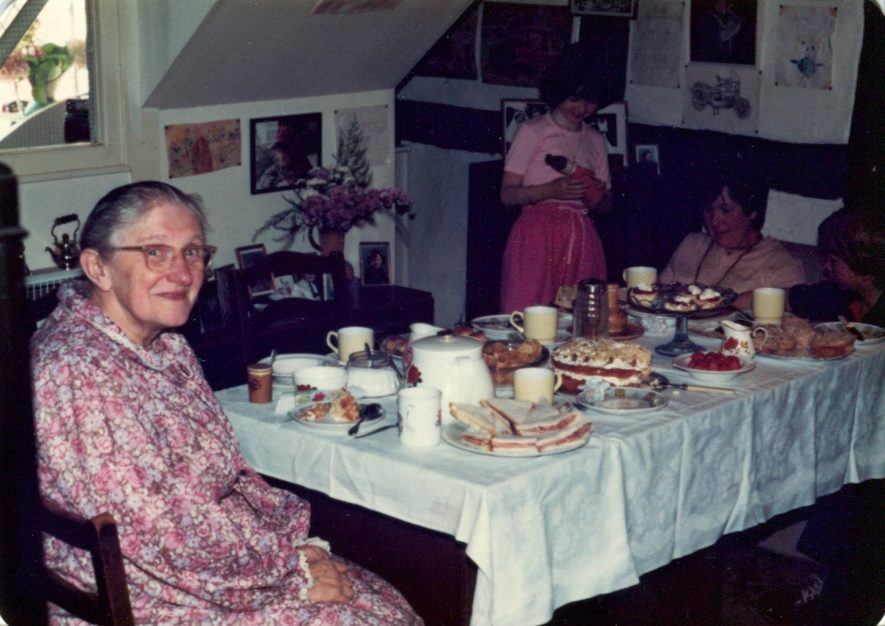 A birthday tea for Margaret Wilkinson (Granny) at the Almshouses. c.1980s | Image courtesy of Christopher Wilkinson