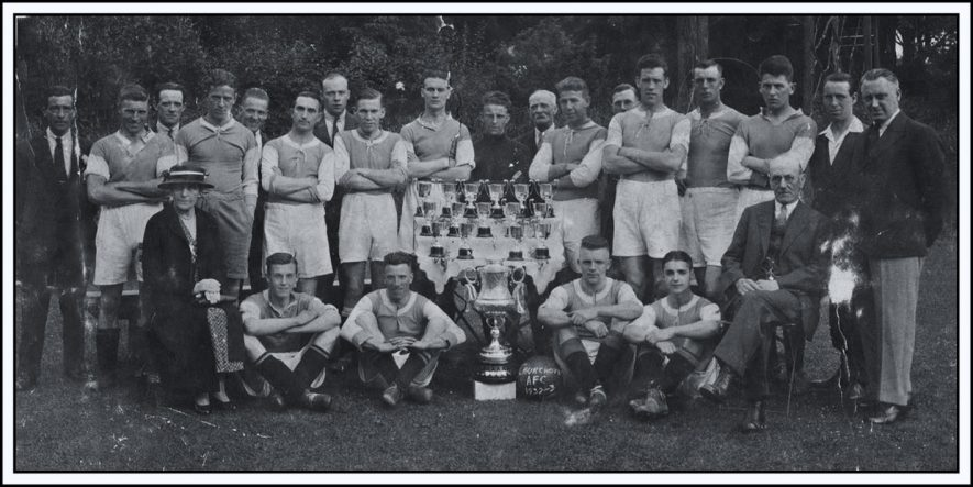 Churchover AFC, nd. Two rows of footballers with a trophy | Image courtesy of David Worrall