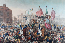 A coloured engraving that depicts the Peterloo Massacre. | Richard Carlile (1790–1843). originally uploaded to Wikipedia