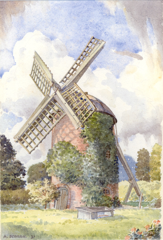 Leamington Spa. Windmill, Tachbrook Road, 1937. Kenneth Peter Franks had the sails of the Windmill removed, they were thought to be in a dangerous condition.   Image by Kenneth Peter Franks who lived in the house attached to the windmill. Supplied by his daughter, Susan Sherratt