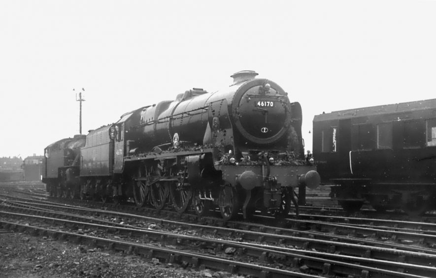 Locomotive 46170 'British Legion'at Rugby Midland, brought out of store in North Wales for the occasion, cleaned up, and decked out for the service of Remembrance at Rugby engine shed in 1961. | Image courtesy of the Tony Newman collection