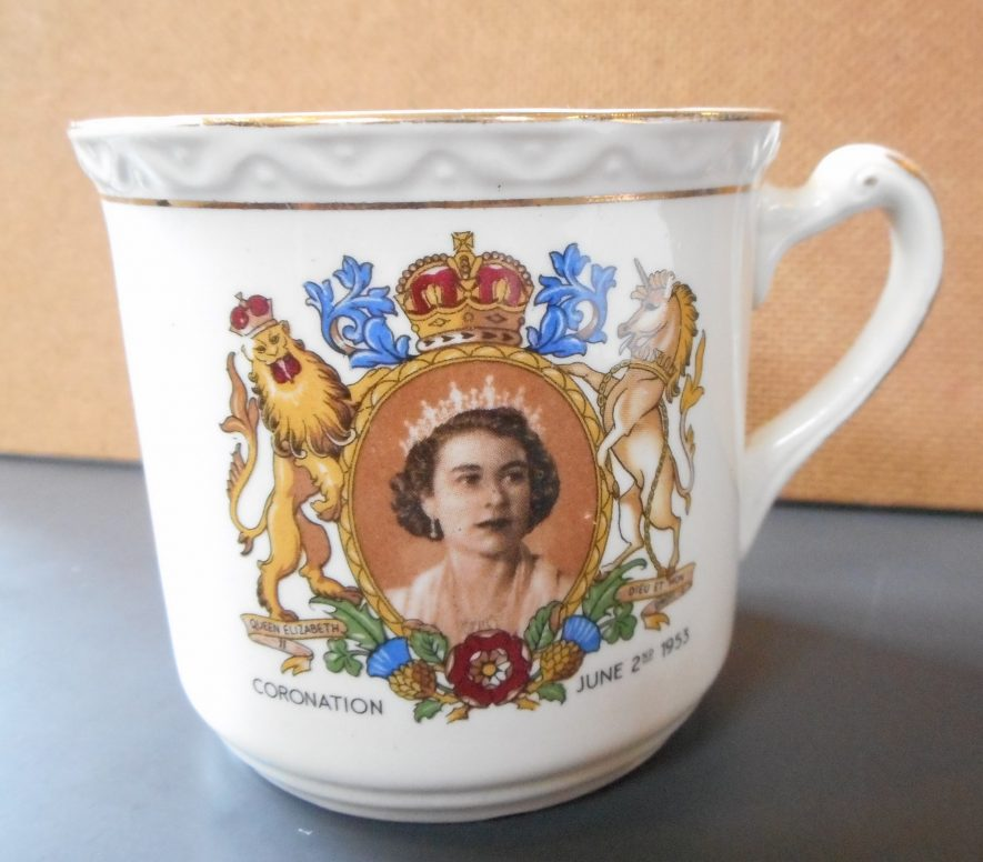 White mug that celebrated the coronation of Queen Elizabeth II in 1953 | Gillian Bromley