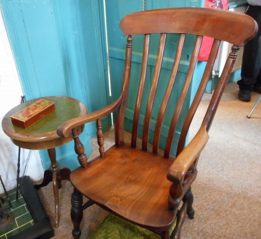 Wooden chair, kept at the Temperance Hotel especially for Reginald Stanley   Image courtesy of Chilvers Coton Heritage Centre