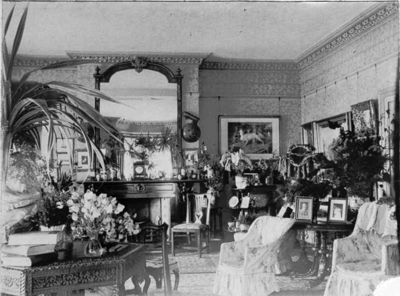 Drawing Room, Eathorpe Park. | Image courtesy of Sylvia Dibbs, from a family album. 1890-1902