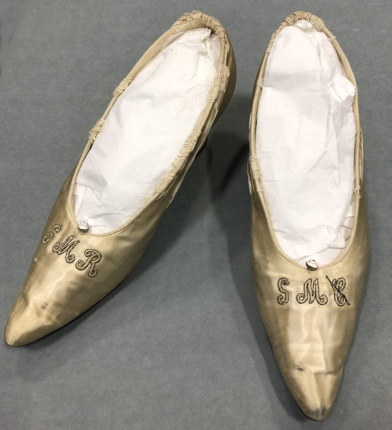 Pair of silk wedding shoes with initials, c.1909 | Image courtesy of Warwickshire Museum