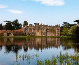 Arbury Hall from across the lake, 2019. Stately home made of stone in the Gothic style with crenellations reflected in a lake with reeds in the foreground | Image courtesy of Christine Simmonds
