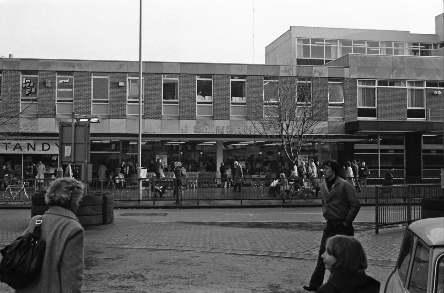 Sainsbury's when it was located in Church Street - notice Tandy also there on the left | Image courtesy of Fred Hands, supplied by Nuneaton Memories.