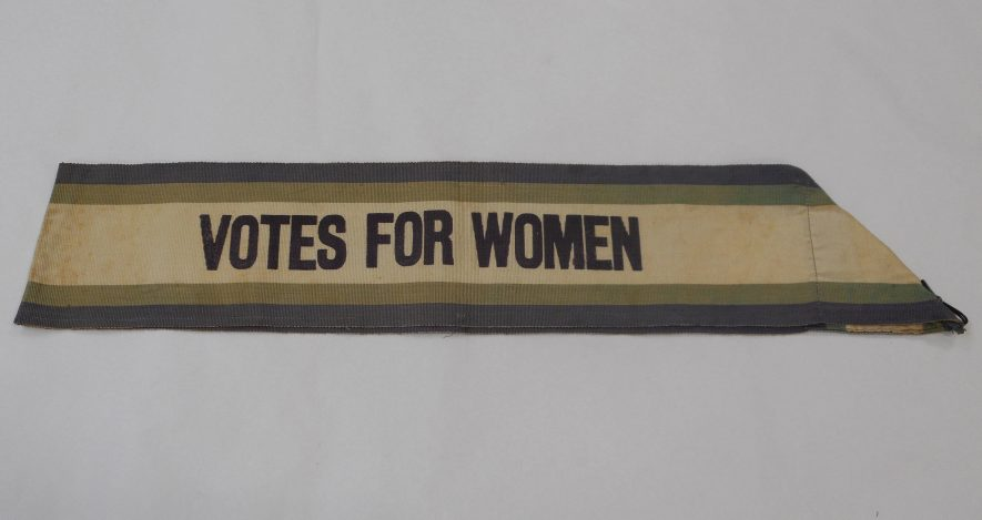 Woven suffragette shoulder sash, c. 1905-1915 | Image courtesy of Warwickshire Museum