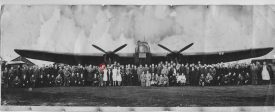 The ground crew of RAF Leamington (Whitnash airfield) during the war. My father is circled in red. | Image courtesy of Laurence French