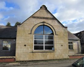 Collycroft former Primitive Methodist Sunday School, 2017. Stone building with round-headed window and inscription 'Primitive Methodist School' | Image courtesy of Anne Langley