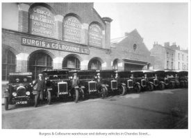 Photo of delivery vehicles belonging to the firm Burgis and Colbourne, 1920s | Photo courtesy of Leamington Library Collection