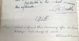 An extract from Southam School's log book | Image courtesy of Southam Heritage Collection