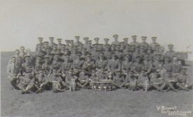 William's regiment photo. He is seated behind the 2nd small drum on the right. | Image courtesy of Anne Kish