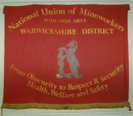 National Union of Mineworkers Warwickshire District banner.   Image from Warwickshire Miners' Association. Warwickshire County Record Office reference CR3323/1016