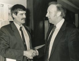 Warwickshire Secretary Barry Daynes meets Arthur Scargill, President of the National Union of Mineworkers, 25 January 1989. | Image from Warwickshire Miners' Association. Warwickshire County Record Office reference CR3323/943
