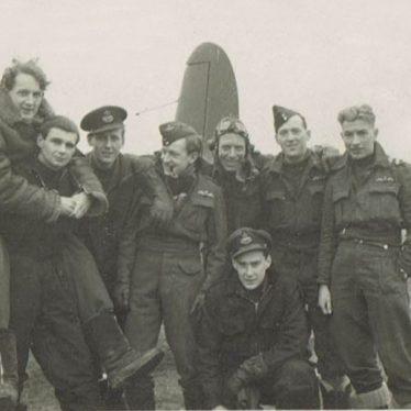 8 Pilots at Hockley Heath aerodrome. Man with goggles on is Edgar Thomas [Tom] Abbott, 1918-2002 | Tom Abbott Collection