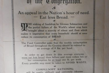 Voluntary Rationing in Idlicote during World War One