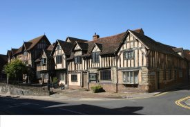 The Old Anchor Inn Warwick (part of Lord Leycester's Hospital), 2006. Timber-framed 2-storey building with gables and tiled roof | Image courtesy of Anne Langley