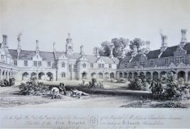 Nicholas Chamberlain's Hospital at Bedworth by G. Hawkins, 1840 . Lithograph of buildings in gothic style with arcade on ground floor and a clock tower, around a courtyard with gardeners working and shrubs | Warwickshire County Record Office reference CR 351/23