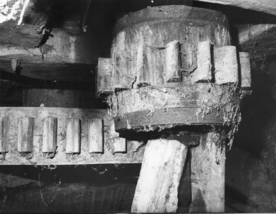 Cherington Mill. Great spur wheel and stone nut, March 1970 | Image courtesy of June Booth
