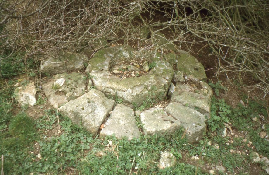 Monks Kirby. Cestersover Mill. French millstone under bush, July 1999   Image courtesy of Tim Booth