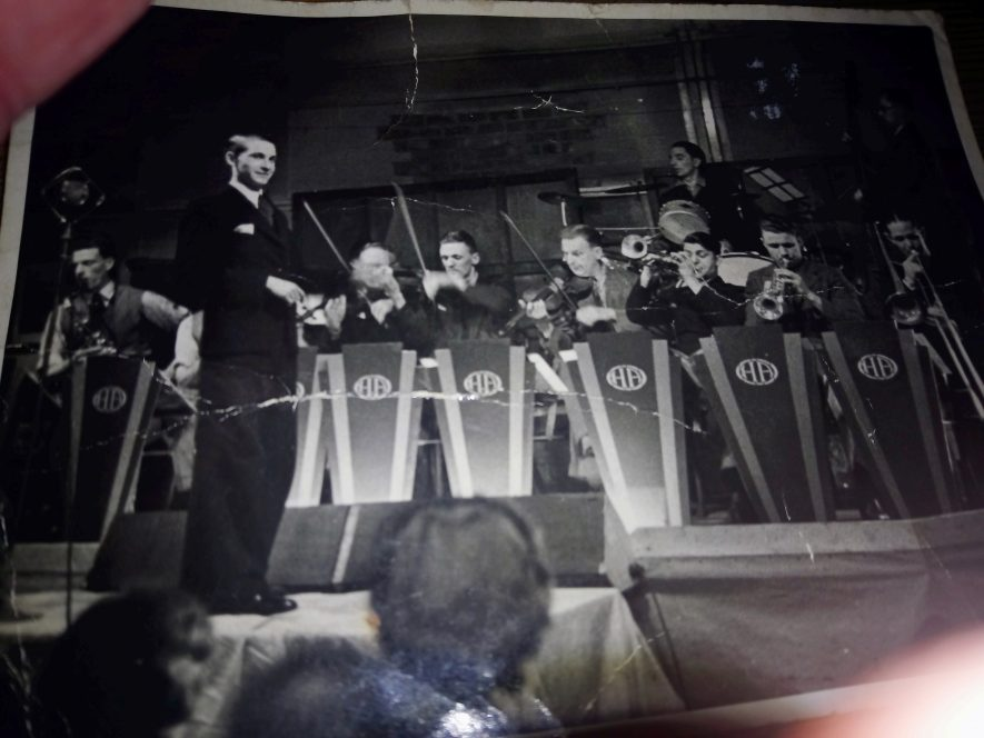 A picture of my father's (Johnny Forman) dance band, believed to have been taken at Sterling Metals Ltd Dance Hall, Gipsy Lane, Nuneaton.   Image courtesy of Alan Forman