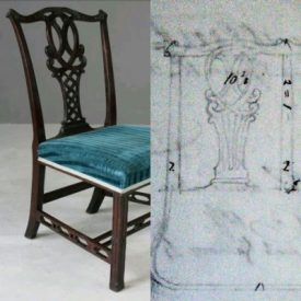 Image of a Chippendale chair with blue seat alongside original drawing | Image courtesy of Robert Pitt
