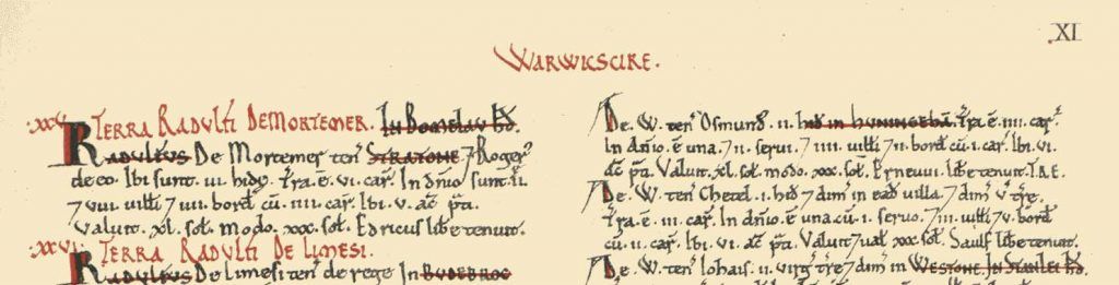 An extract from the Domesday book of 1986, showing ownership of the manor of Hunningham