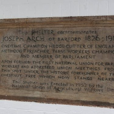 Plaque at the bus shelter commemorating Joseph Arch | Image courtesy of Gary Stocker