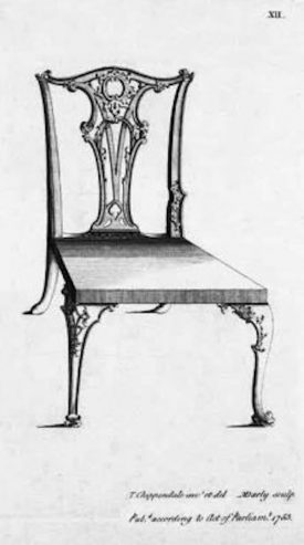 A black and white image of a chippendale chair