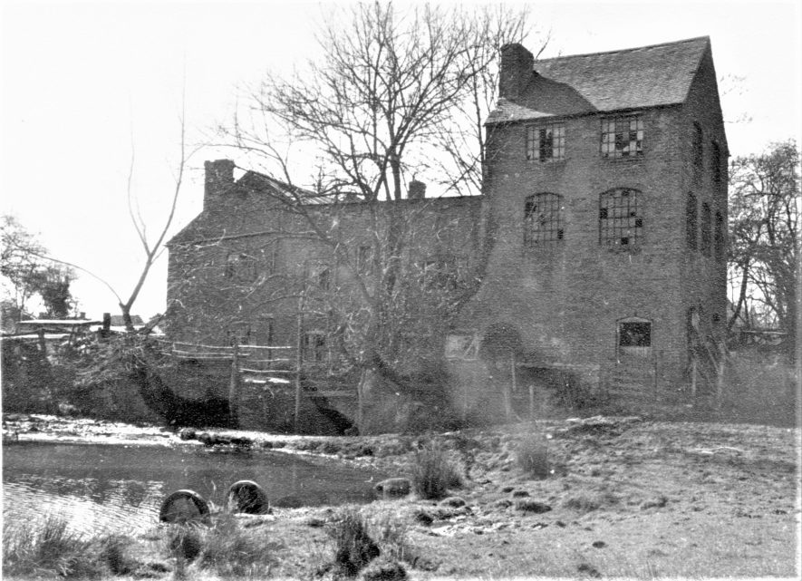 Ragley Needle Mill, March 1973 showing the mill buildings and tail race | Image courtesy of June Booth