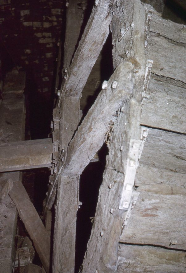 Weston Mill, Cherington, May 1973. The timber clasp-arm waterwheel 10ft x 5ft 5in. | Image courtesy of Tim Booth