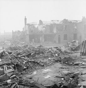 A black and white photo of bomb damage in Birmingham during World War Two | Image courtesy of Imperial War Museum, Ref D4126