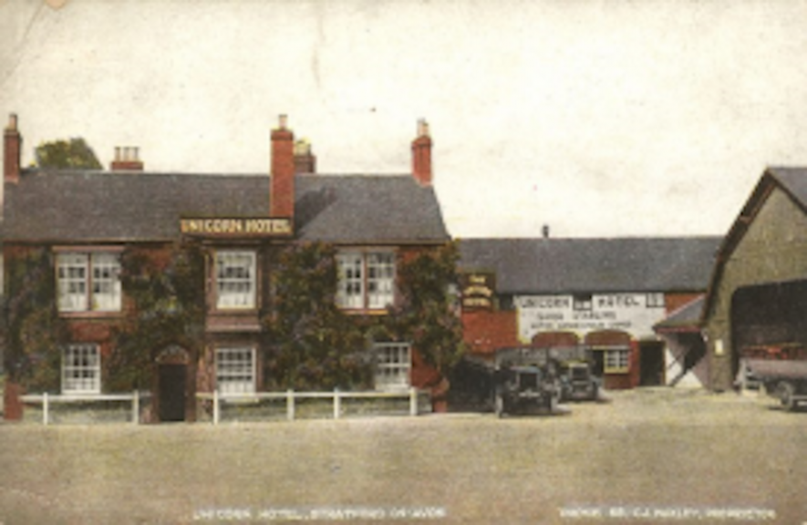 A postcard of Unicorn Hotel, Stratford on Avo | Photo courtesy of Warwickshire County Record Office. Ref PH352_172_223