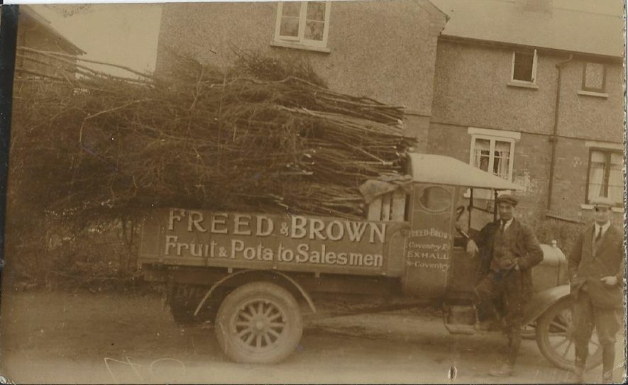 Freed and Brown Potato Salesmen, Coventry Road, Exhall (l-r: Brown, and James Thomas Frank Freed) circa 1925. James (Thomas Frank) Freed married Florence (Ada Harriet) Brown in 1923, his partner's sister. However, James Freed went solo after a disagreement with his business partner. | Image courtesy of Allan Smith