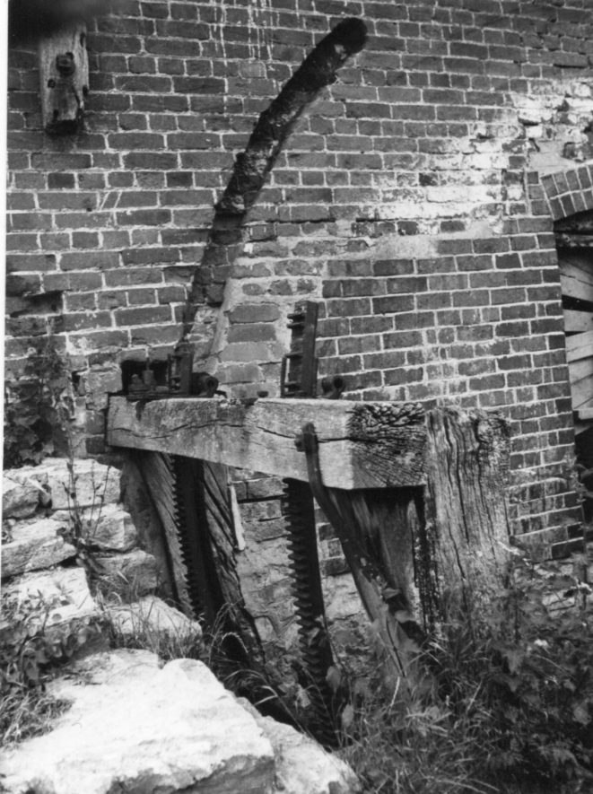 Welford Mill, April 1971. West wheel penstock. | Image courtesy of June Booth