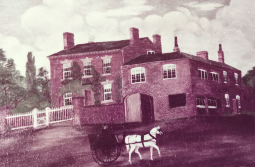Vale needle factory, Studley. A painting of a large house, with a horse and cart outside. | Image courtesy of Gwladys Axelrod