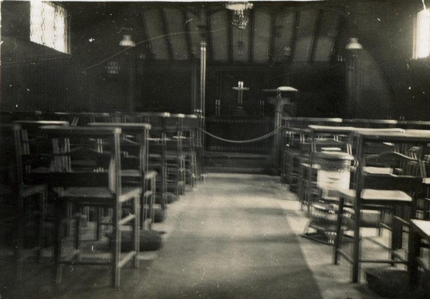Bascote Heath Church interior, c. 1931 | Image courtesy of Howard Cooper, from a family collection of photos of holidays and days out, 1920s-1930s