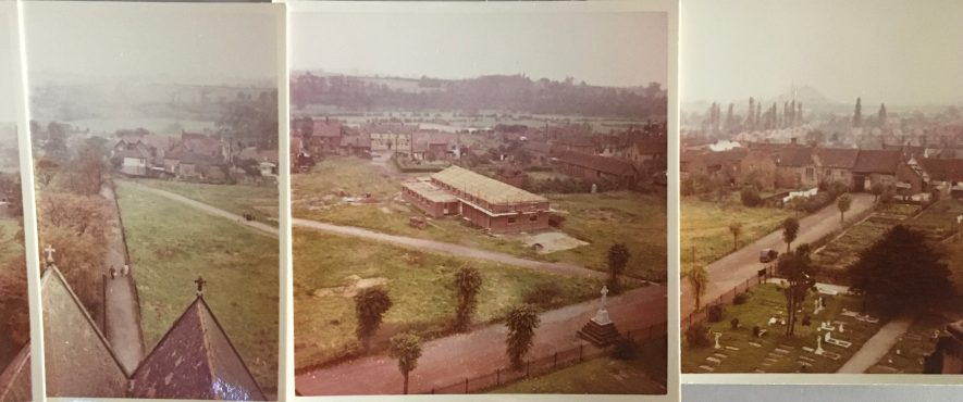Taken from the top of Polesworth Abbey in 1956 or 1957. One of the names on the memorial at the bottom of two of the photos is that of my uncle, Henry Vincent Searle who died just before the end of WWI and is buried at Rouen.