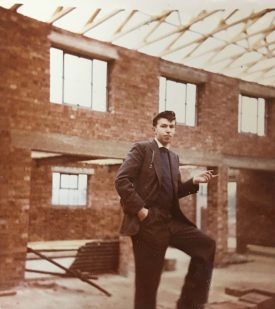 I am standing in the Memorial Hall, Polesworth, which was under construction at the time.