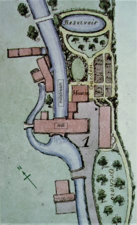 Hand-coloured map showing mill, mill stream, outbuildings, millhouse, garden, orchard, reservoir and footbridge | Warwickshire County Record Office reference CR 350/24