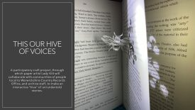 Colour photo, interior. A book with neat pages and fairly dense text lays open. Pages are slightly fanned so that three are visible. From one of, a bee and honeycomb hexagon shapes have been cut. The bee looks as if it is landing on the page. Light passes through the honeycomb shapes onto the next page illuminating parts of the writing in little hexagons. No books were harmed in the making of this (folding and cutting only- no removing paper- it can all be folded back down and read) | Image courtesy of Lady Kitt