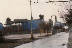 Gates into Coventry Colliery, c.1990.   Warwickshire County Record Office reference CR3323/1013.